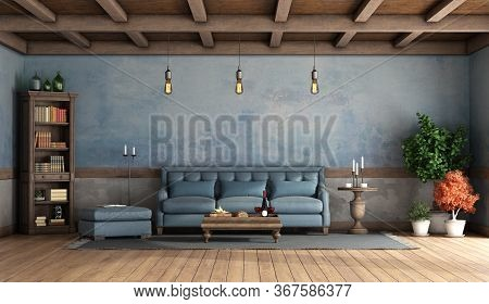 Rustic Living Room With Old Walls, Blue Sofa,footstool, Bookcase And Wooden Ceiling - 3d Rendering