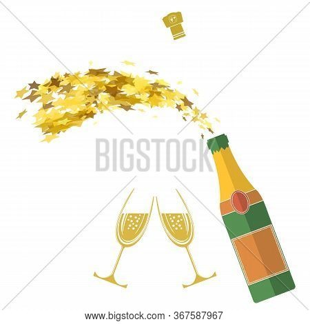 Champagne Bottle Explosion. Happy New Year. Lets Celebrate. Cheers. Champagne Celebration. Alcoholic
