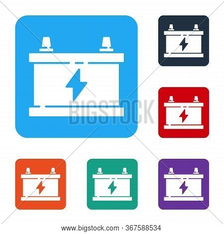 White Car Battery Icon Isolated On White Background. Accumulator Battery Energy Power And Electricit