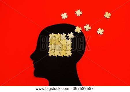 Brain Disorder Symbol Presented By Human Head Made Form Paper . Creative Idea For Alzheimers Disease