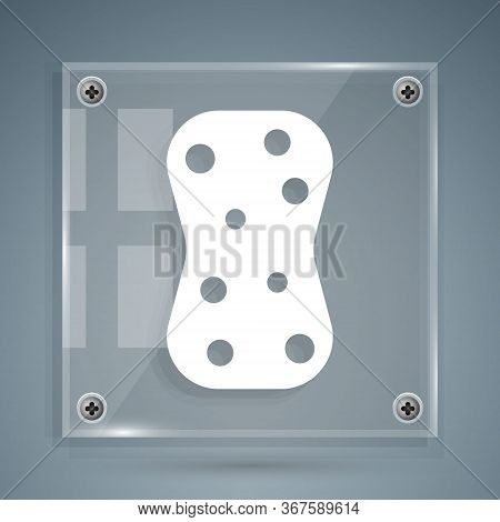White Sponge With Bubbles Icon Isolated On Grey Background. Wisp Of Bast For Washing Dishes. Cleanin