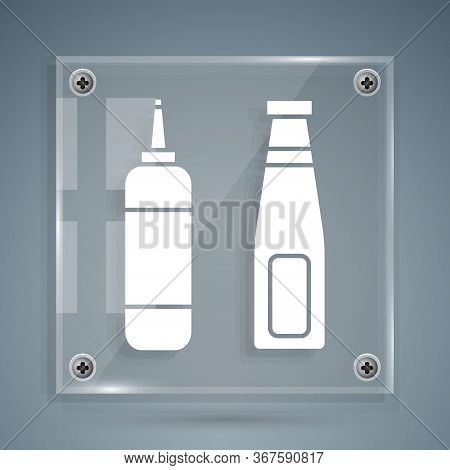White Sauce Bottle Icon Isolated On Grey Background. Ketchup, Mustard And Mayonnaise Bottles With Sa