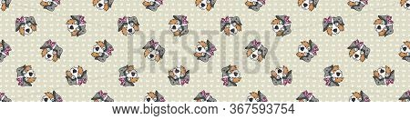 Hand Drawn Cute Australian Shepherd Dog Face With Pink Bow Seamless Vector Border. Purebred Pedigree