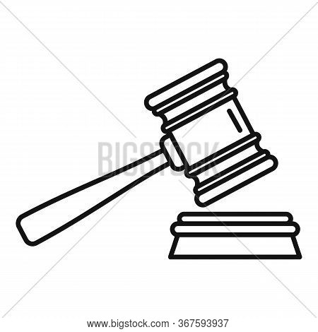 Money Wash Gavel Icon. Outline Money Wash Gavel Vector Icon For Web Design Isolated On White Backgro
