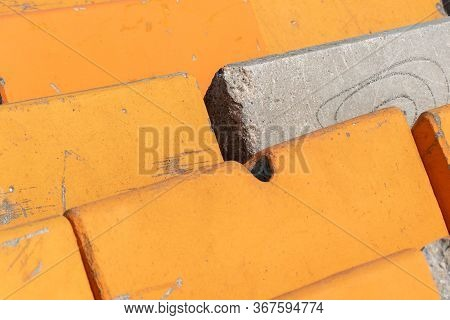 Close Up Of Heavy Cement Barriers For Traffic Control And Anti-terrorism Protection Of Pedestrians A