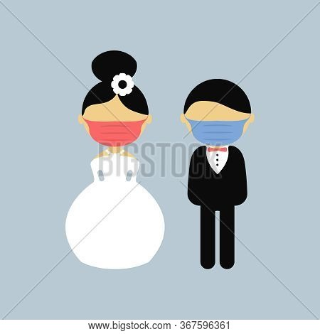 Cartoon Wedding Characters. Bride And Groom Wearing Medical Face Mask. Couple Newlyweds. Vector Flat