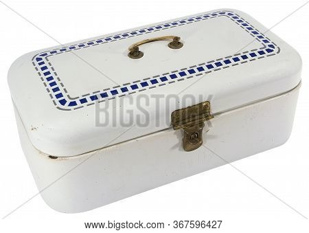 Old Blue And White Metal Cash Box With Brass Handle And Lock Isolated On White Background In A High