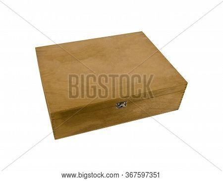Old Natural Wooden Box With Metal Latch And Closed Lid Isolated On White