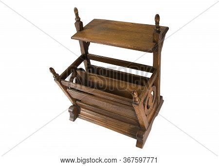 Old Vintage Wooden Magazine Or Book Rack With Shelf Isolated On White Viewed High Angle