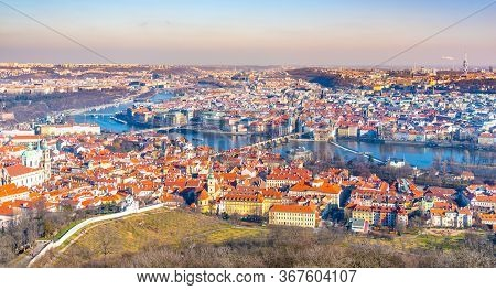 Prague Panormaic Cityscape. Aerial View From Petrin Tower, Praha, Czech Republic