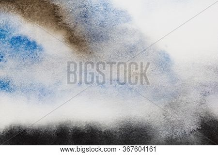 Watercolor Color Texture Background. Watercolor Abstraction. Artistic Background. Blue Gray White Bl