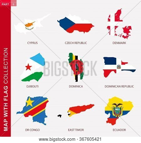 Map With Flag Collection, Nine Map Contour With Flag Of Cyprus, Czech Republic, Denmark, Djibouti, D