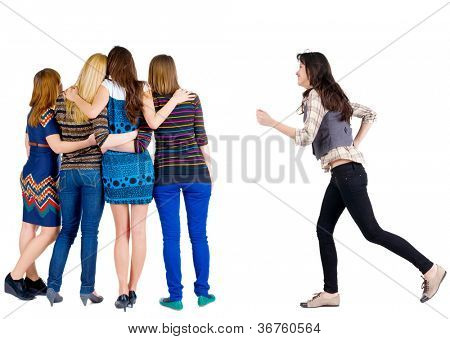 Back view of group young women. girl hastens to join friends.  Rear view people collection. backside view of person. Isolated over white background.