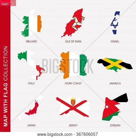 Map With Flag Collection, Nine Map Contour With Flag Of Ireland, Isle Of Man, Israel, Italy, Ivory C