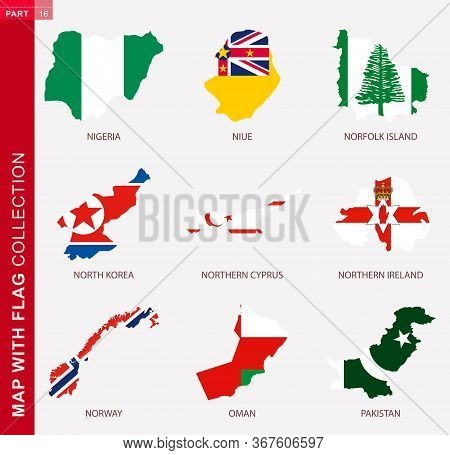 Map With Flag Collection, Nine Map Contour With Flag Of Nigeria, Niue, Norfolk Island, North Korea,