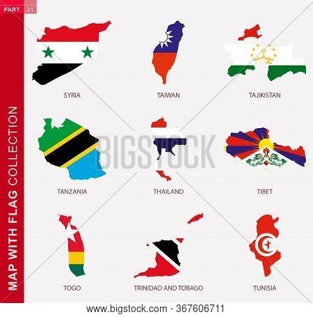 Map With Flag Collection, Nine Map Contour With Flag Of Syria, Taiwan, Tajikistan, Tanzania, Thailan