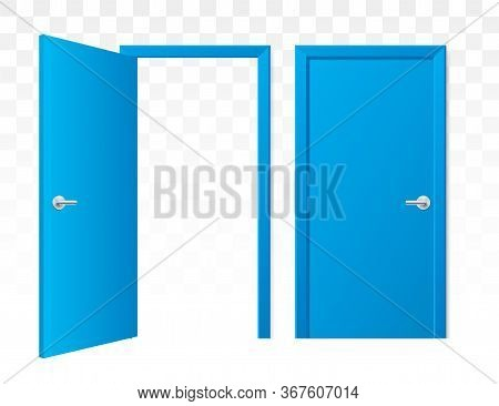 Set Of Opened And Closed Blue Doors On A Transparent Background. Vector Doors In A Front View, Isola