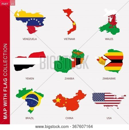 Map With Flag Collection, Nine Map Contour With Flag Of Venezuela, Vietnam, Wales, Yemen, Zambia, Zi