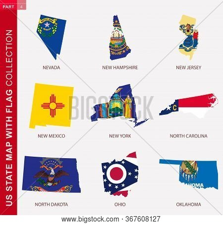 Us State Maps With Flag Collection, Nine Usa Map Contour With Flag Of Nevada, New Hampshire, New Jer