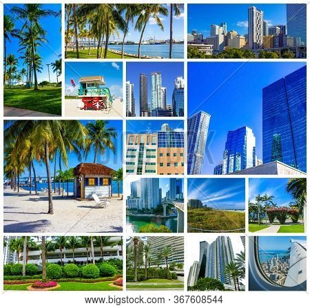 Collage About Miami, Florida, United States Of America. It Is World Famous Travel Location.