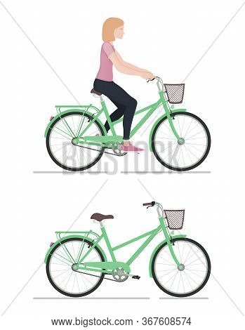 Girl Rides A Bicycle, Character And Bike In Cartoon Style, Side View, Active Lifestyle, Sporty Woman