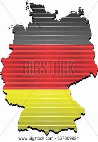 Shiny Map Of The Germany - Illustration,  Three Dimensional Map Of Germany