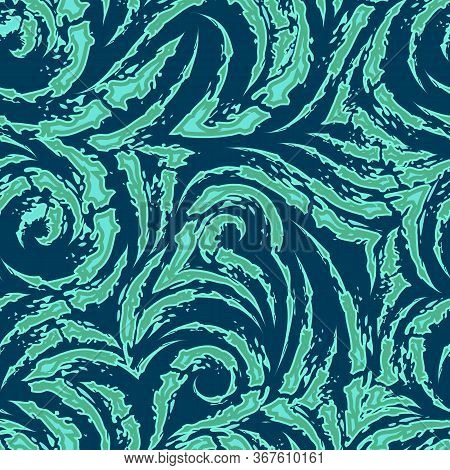 Vector Seamless Pattern Of Torn Stripes And Arcs Of Turquoise And Green Color With Sharp Ends Isolat