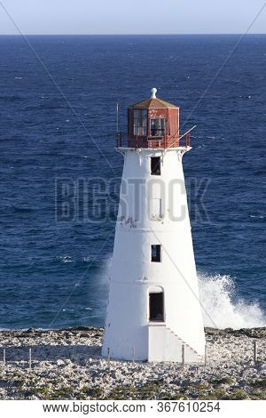 The Morning View Of Paradise Island Lighthouse Built At The Entrance To Nassau Harbour (bahamas).