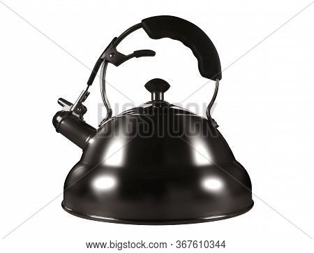 Stainless Steel Kettle, Isolated On White Background. Clipping Path Included.