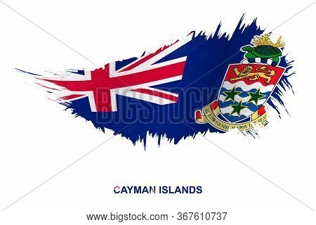 Flag Of Cayman Islands In Grunge Style With Waving Effect, Vector Grunge Brush Stroke Flag.