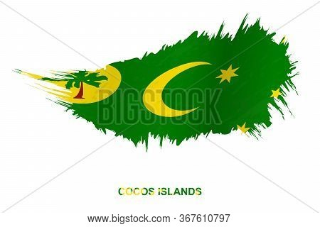 Flag Of Cocos Islands In Grunge Style With Waving Effect, Vector Grunge Brush Stroke Flag.