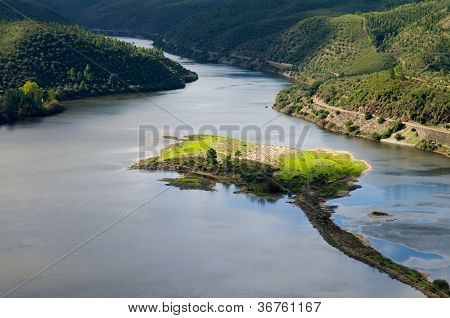 Island In Tagus River At Portas De Rodao
