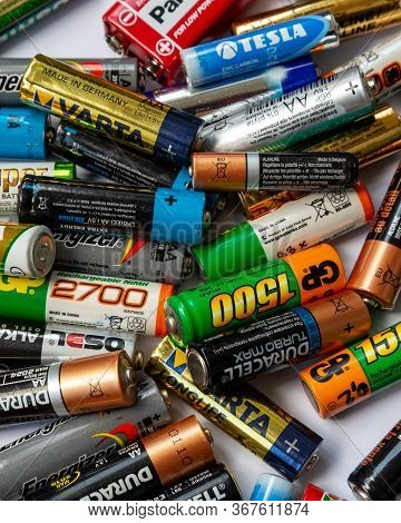 Ukraine. Khmelnitsky. September 14, 2018. Closeup Of Pile Of Used Alkaline Batteries.