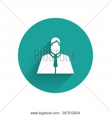 White Lawyer, Attorney, Jurist Icon Isolated With Long Shadow. Jurisprudence, Law Or Court Icon. Gre