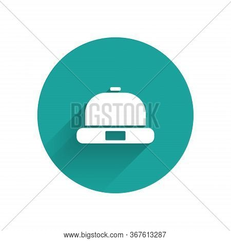 White Beanie Hat Icon Isolated With Long Shadow. Green Circle Button. Vector
