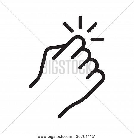 Hand Knocking On Door Icon. Vector Illustration, Isolated On White Background.