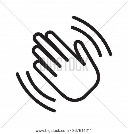 Hand Wave Waving Hi Or Goodbye Flat Icon. Hello Symbol. Vector Illustration, Isolated On White Backg
