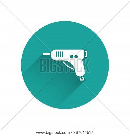 White Electric Hot Glue Gun Icon Isolated With Long Shadow. Hot Pistol Glue. Hot Repair Work Applian