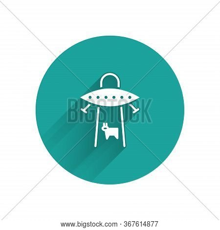 White Ufo Abducts Cow Icon Isolated With Long Shadow. Flying Saucer. Alien Space Ship. Futuristic Un