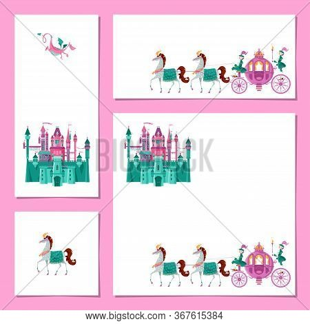 Set Of 4 Universal Cards With Fairytale Medieval Castle And Princess Fantasy Carriage. Template. Hap