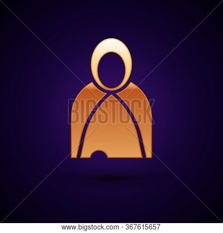 Gold Mantle, Cloak, Cape Icon Isolated On Black Background. Magic Cloak Of Mage, Wizard And Witch Fo
