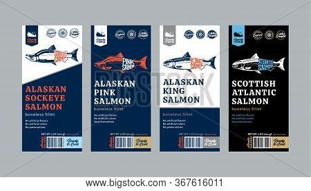 Vector Salmon Labels And Design Elements