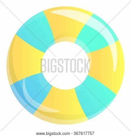 Striped Inflatable Ring Icon. Cartoon Of Striped Inflatable Ring Vector Icon For Web Design Isolated