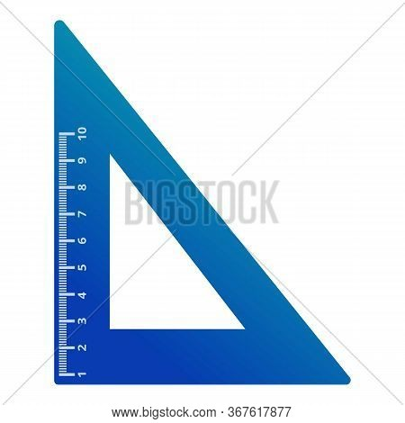 Plastic Angle Ruler Icon. Cartoon Of Plastic Angle Ruler Vector Icon For Web Design Isolated On Whit
