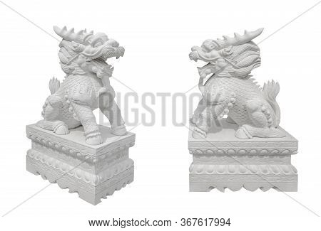 Stone Kylin (qilin) Statue Isolated On White. Mythical Chinese Chimerical Creature Like Lion Dragon