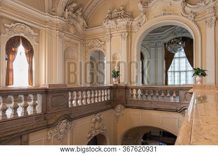 Budapest, Hungary - July 14, 2019: Interior Hungarian Agricultural Museum Inside Vajdahunyad Castle