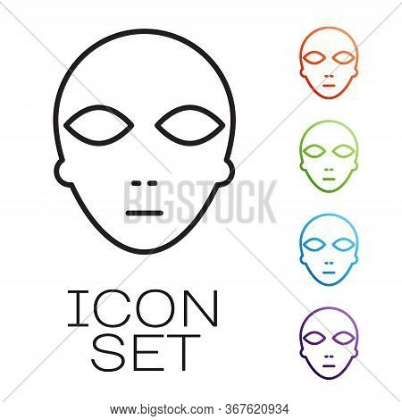 Black Line Alien Icon Isolated On White Background. Extraterrestrial Alien Face Or Head Symbol. Set