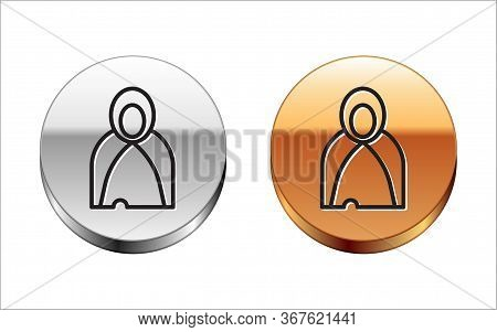 Black Line Mantle, Cloak, Cape Icon Isolated On White Background. Magic Cloak Of Mage, Wizard And Wi