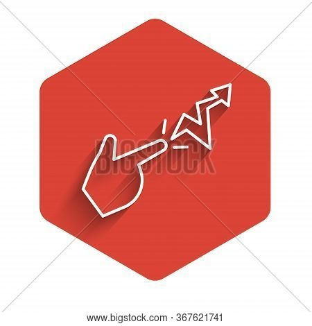 White Line Spell Icon Isolated With Long Shadow. The Sorcerer Hand Performing Spells. Red Hexagon Bu