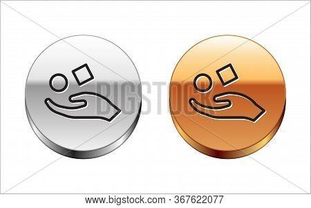Black Line Cube Levitating Above Hand Icon Isolated On White Background. Levitation Symbol. Silver-g
